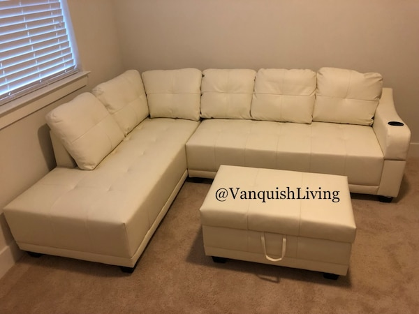 Nice White Leather Sectional Sofa Couch- Storage Ottoman - Black Friday Sale