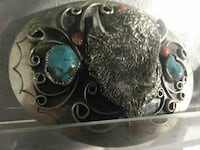Buffalo and turquoise silver belt buckle for $39 2280 mi