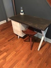 Rustic 3 drawer desk w/ leather saddle stool  Harrisburg, 17110