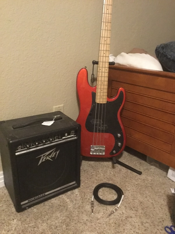 used polished red samick bass guitar bass amp and 10f for sale in san diego letgo. Black Bedroom Furniture Sets. Home Design Ideas