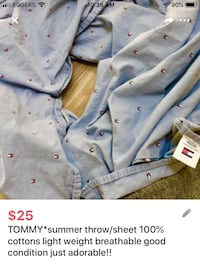 TOMMY*summer throw/sheet 100% cottons light weight breathable good condition just adorable!! London, N5W 1E8