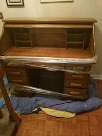 Sliding door vintage desk with light Cornelius