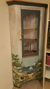 Corner cupboard with sea scene. Door glass broken New Market, 21774