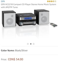 black GPX HC221B compact CD player stereo home music system screenshot Toronto, M4H 1L7