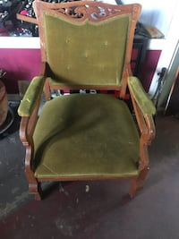 green and brown wooden armchair Duncan, V9L