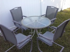 Outdoor Patio Glass Table 4 Chairs