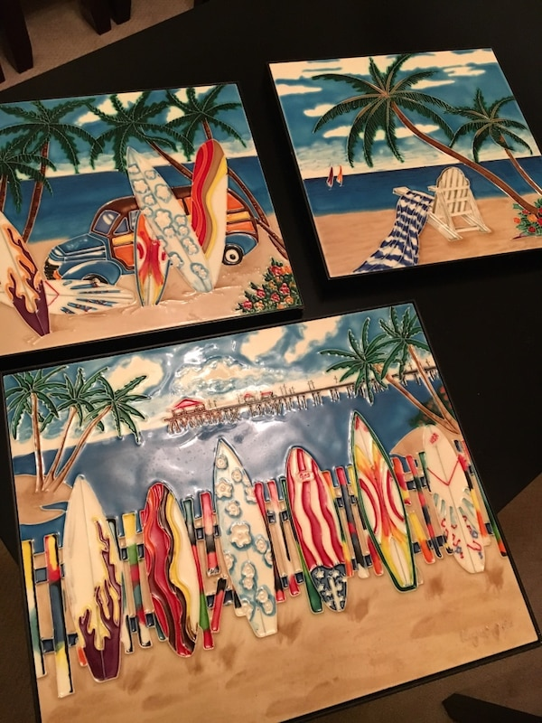 Used Three Ceramic Tile Art Pieces Surfsummer For Sale In Penn