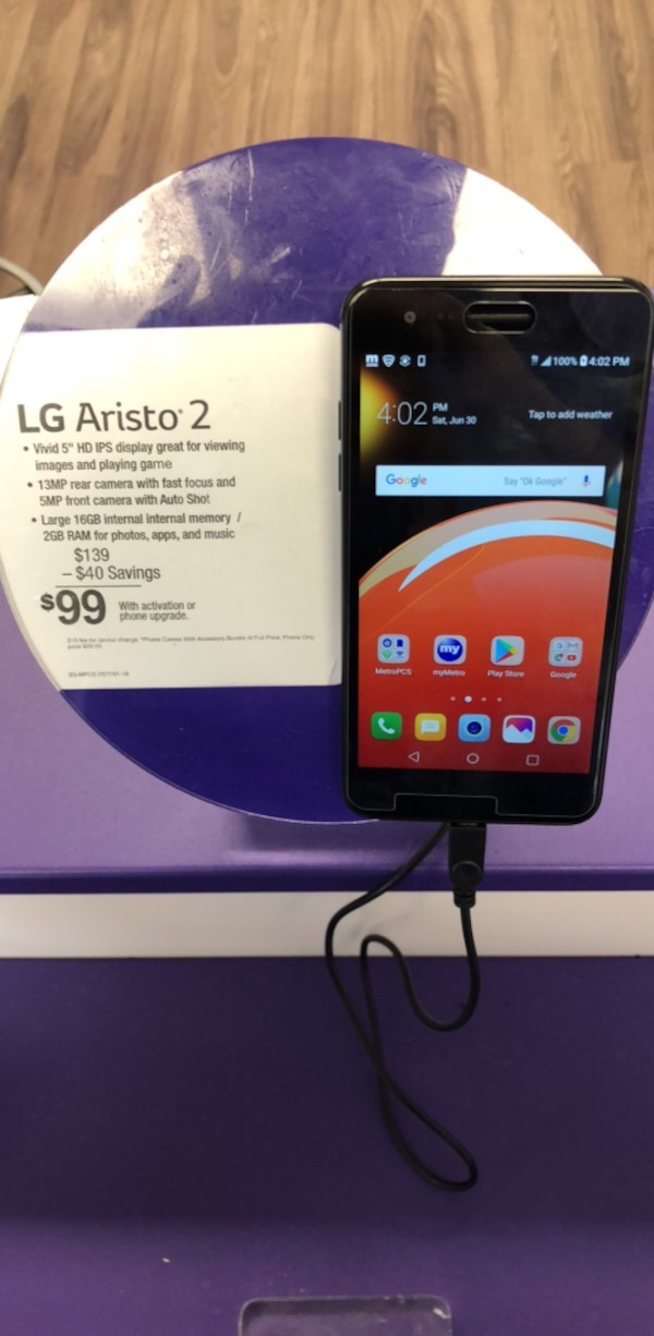 Metro PCS lg aristo 2 activated with 1 month of service included