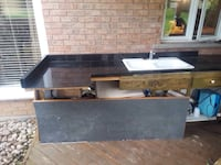 black granite kitchen countertop with double white sink and faucet $150 Hamilton, L9H