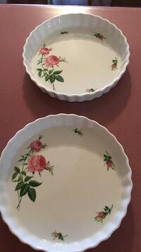 White  with roses porcelain baking plate .  15.00 each  on another site there from 10. To 38. Higdon, 35979
