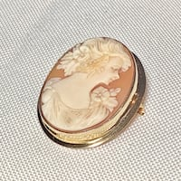 Antique 10k Yellow Gold Cameo Brooch Ashburn