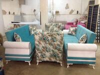 Teal and white sofa