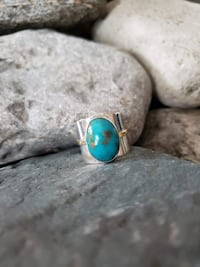 925 Sterling Silver Natural Turquoise Ring  -  Siz Burlington