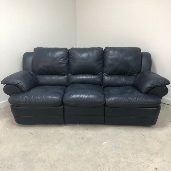 Chateau Dax Blue Leather 3 Seat 2 Recliner Sofa Co