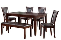6-Piece Padded Dining Set with Bench Herndon