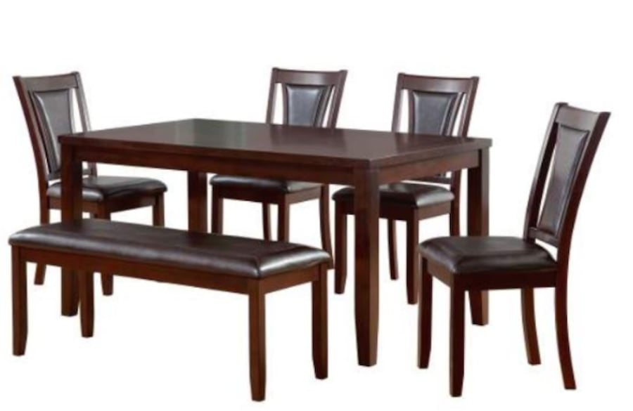 6-Piece Padded Dining Set with Bench f110204d-b74c-4330-bd6a-69879caa0d76