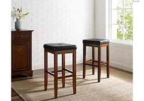 Crosley Furniture Upholstered Square Seat 29-inch Bar Stool - Vintage Mahogany Set of 2