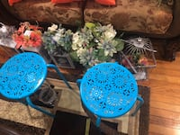 Pillows table flowers light cages
