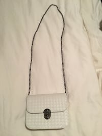 White leather cross body purse