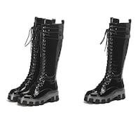 TODZA MAZI CHUNKY LACE UP KNEE HIGH KNIGHT LEATHER BOOTS IN BLACK