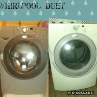 two gray and white Whirlpool front-load clothes washer and dryer collage