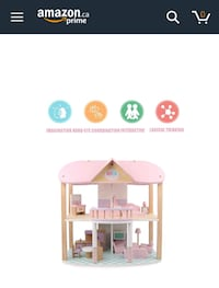 Wooden doll house with furniture kit
