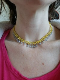 Yellow and blue beaded necklace/choker