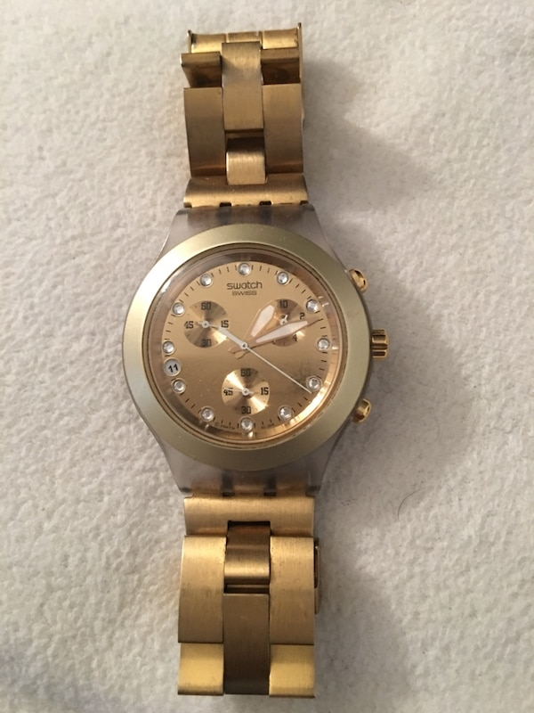 Swatch women's watch Gold color (needs Battery) great condition!
