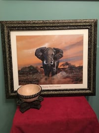 Huge elephant picture framed and matted plus elephant table art bowl