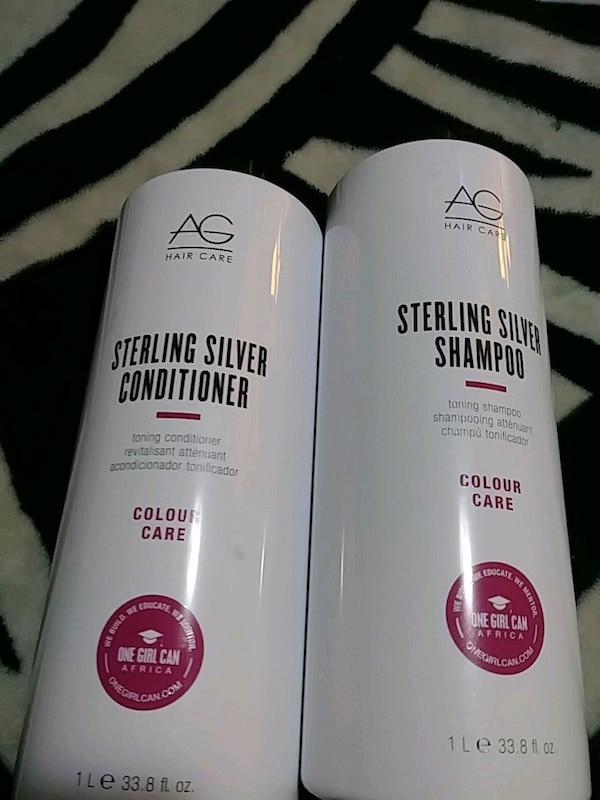 1L AG Hair Care sterling silver conditioner and shampoo bottles