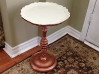 FLORENTINE STYLE COPPER AND CREAM ROUND SIDE TABLE