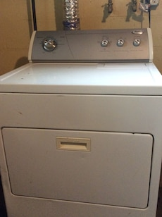 white Whirlpool front load clothes washer