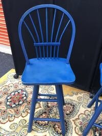 3 Blue Hightop Bar Chairs Alexandria