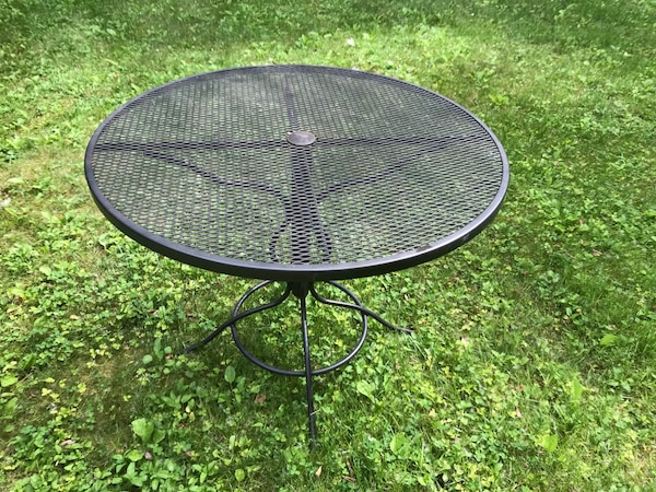 Used Wrought Iron Bistro Set 36 Table And Two Chairs For Sale In