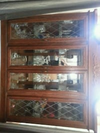 brown wooden framed glass display cabinet Windsor, N9C 1P7