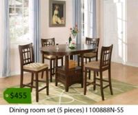 round brown wooden table with four chairs dining set La Mirada, 90638