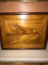 """HUDSON RIVER INLAY SNOW GEESE WALTZ SKY"""" NELSON SIGNED FRAMED New York, 10467"""