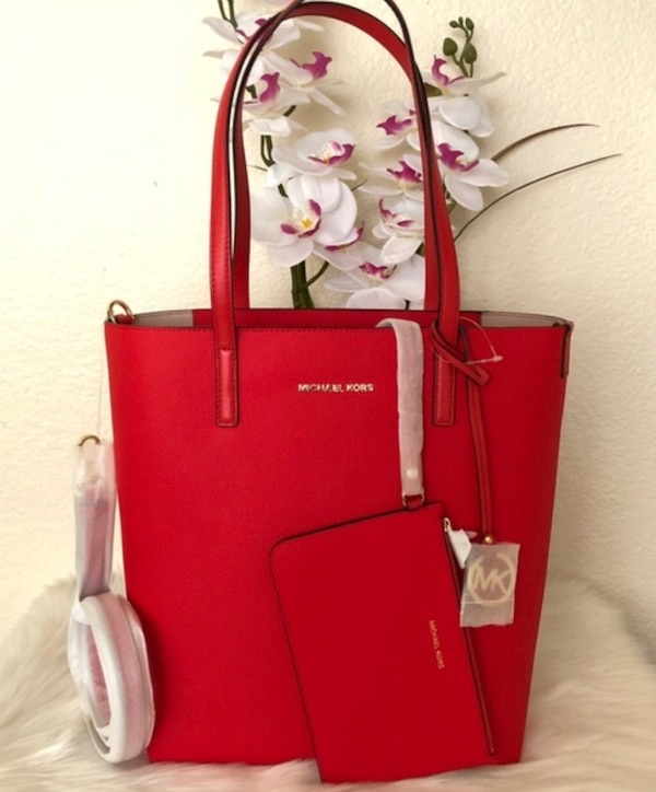 2d48673a93df BRAND NEW!!! Michael Kors Hayley Sangria Red Large Tote Bag