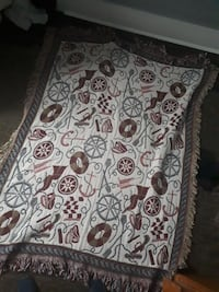 white and black floral area rug