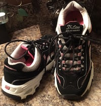 Skechers black, white, & pink D'Lites running shoes Calgary, T2J 1Y9