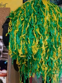green and yellow pompoms