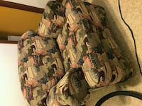 brown and green floral fabric sofa chair Winnipeg, R2G 1Y4