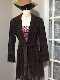 Brown suede jacket, Boho style from Danier Leather, size 4-6.  In great condition. Toronto, M6H 3T9