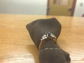 Ladies sapphire and diamond ring in yellow gold
