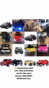 The best deals for ride on cars. The ones in the pictures only $220. Bradford, L3Z 2Z2