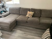 Living space L shaped couch and ottoman (dove grey)