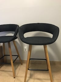Two charcoal padded bar stools