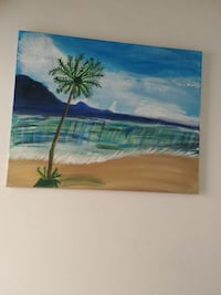 Beach with palm tree painting Calgary, T2A 6W4