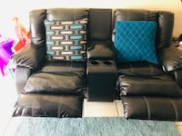 Black leather reclining couch Tampa, 33613