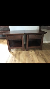 Two brown wooden side tables and console table with coffee table  Fairfax, 22033